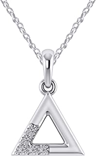 Pretty Jewels 0.09 Ct Real Diamond Geometric Sign Triangle Pendant Necklace in 925 Sterling Silver (G-H/I1-I2)