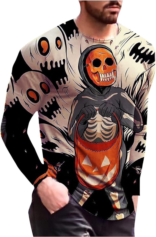 XXBR Long Sleeve T-shirts for Mens, 3D Halloween Pumpkin Bat Ghost Print Workout Slim Fit Casual Crewneck Tee Tops