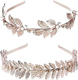 (2 Pack) Roman Goddess Leaf and Star Branch Dainty Bridal Hair Crown HeadBand