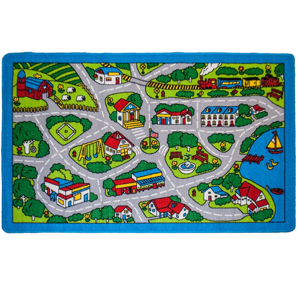 Mybecca Kids Rugs Street Map In Grey 5 X 7 Childrens Area Rug Non Skid Gel Backing 59 X 82 Kitchen Dining