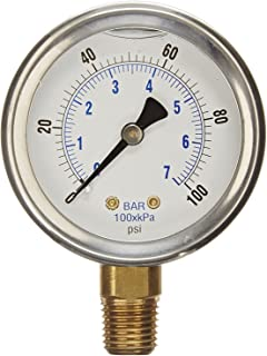 NEW STAINLESS STEEL LIQUID FILLED PRESSURE GAUGE WOG WATER OIL GAS 0 to 100 PSI LOWER MOUNT 0-100 PSI 1/4