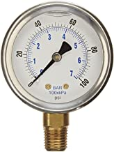 """NEW STAINLESS STEEL LIQUID FILLED PRESSURE GAUGE WOG WATER OIL GAS 0 to 100 PSI LOWER MOUNT 0-100 PSI 1/4"""" NPT 2.5"""" FACE D..."""