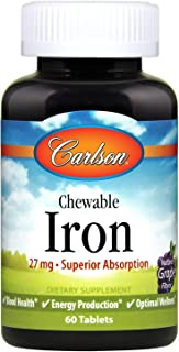 Carlson - Chewable Iron, 27 mg - Superior Absorption, Blood Health, Energy Production & Optimal Wellness, Grape, 60 tablets