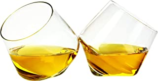 Barbuzzo Rolling Whiskey Glasses (Set of 2) – Hand-Blown Stemless Whiskey Glasses That Roll for Better Aeration – Perfect for a Variety of Spirits, Malts, Highballs and Cocktails – Holds 6.3 Ounces