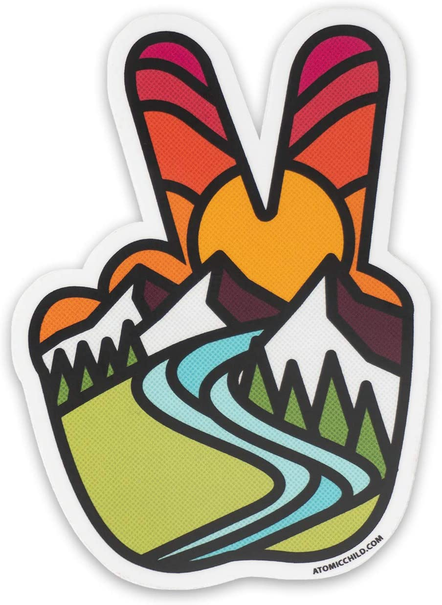 AtomicChild Peace Sign Fingers Limited price sale - Max 90% OFF Sticker Stained Style D Glass