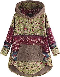 LOPILY Women's Floral Print Cotton Linen Hoodie Swea