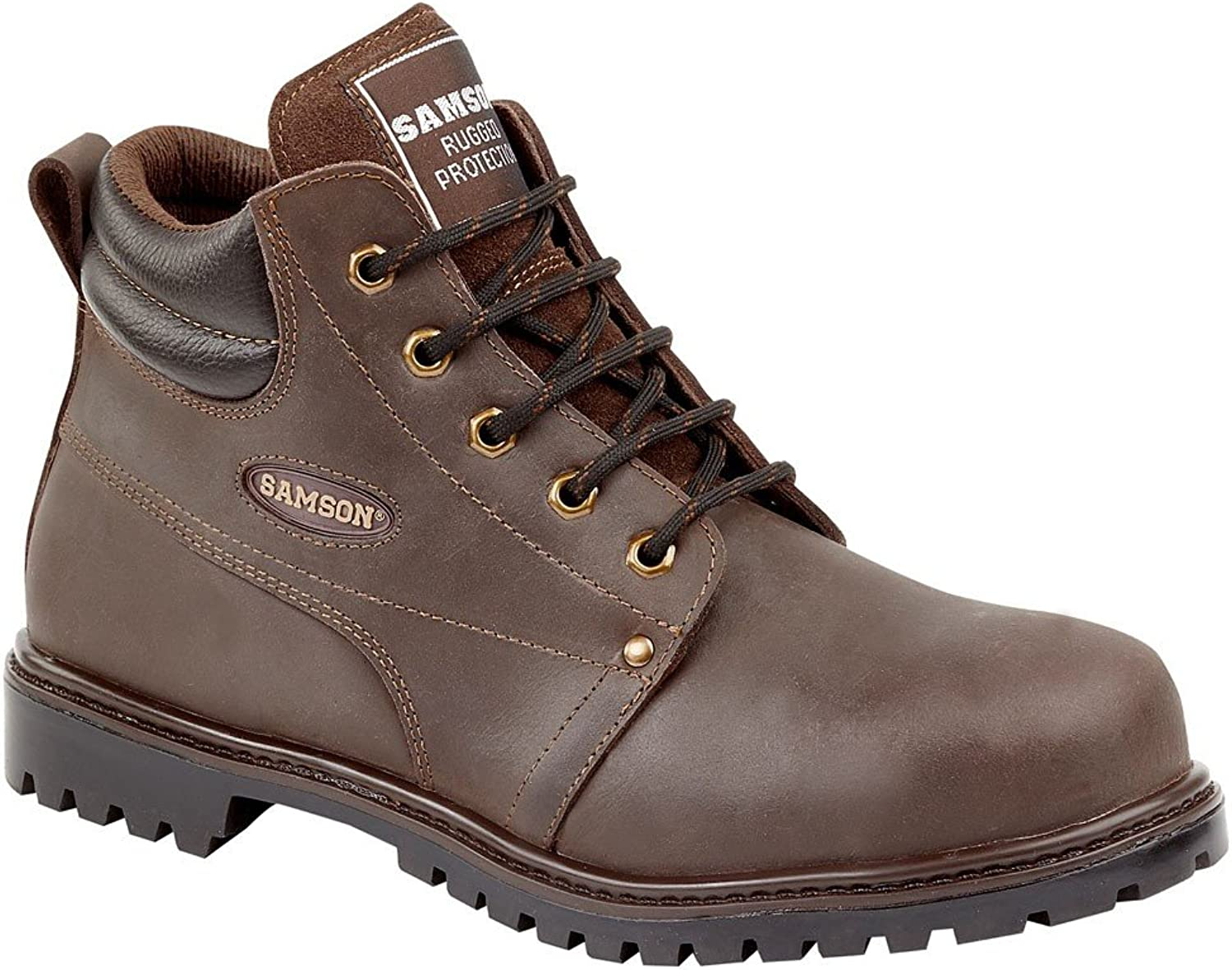 SAMSON 7704 WAXY BROWN 5 EYELET WORK BOOT S3 WITH STEEL TOECAP SIZES 6-12