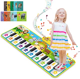 RenFox Upgrade Baby Musical Mats with 42 Music Sounds, Musical Toys Child Floor Piano Keyboard Dance Mat Animal Blanket To...