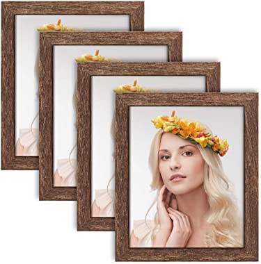 ZIRANLING 8x10 Picture Frame Wood Rustic Brown Set of 4 Packs for Table Top and Wall Mounting Display