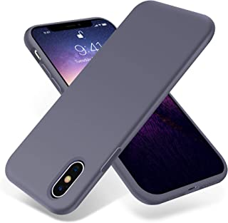 for iPhone X Case, OTOFLY [Silky and Soft Touch Series] Premium Soft Silicone Rubber Full-Body Protective Bumper Case Compatible with Apple iPhone X XS(ONLY) - (Lavender Gray)