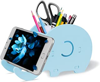 COOLOO Pencil Holder Cell Phone Stand, Cute Elephant Office Accessories Tablet Desk Bracket Compatible with iPhone iPad Sm...