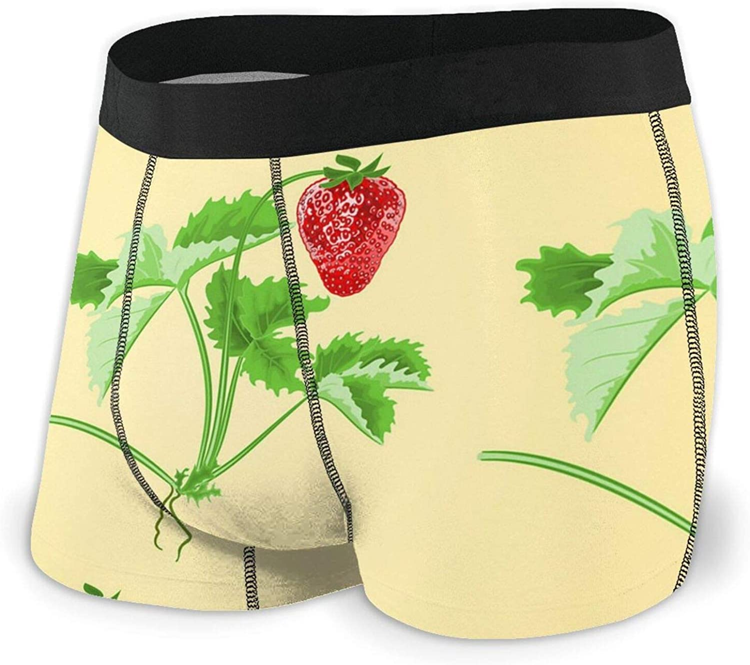 TZT Strawberries and Leaves San Francisco Mall Men's Boxer Comfor Briefs Breathable NEW