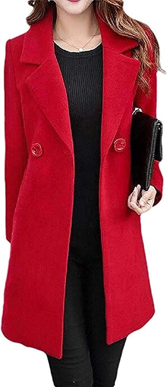 Women Blazer Solid Color Outerwear Plus Size Woollen Winter Pea Coat Jacket