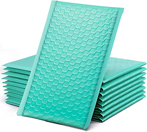 """GSSUSA Teal Bubble Mailers, 4x8"""" Inches, 50 Pack, Padded Poly Mailers, Packaging for Small Business, Shipping Bags, P..."""