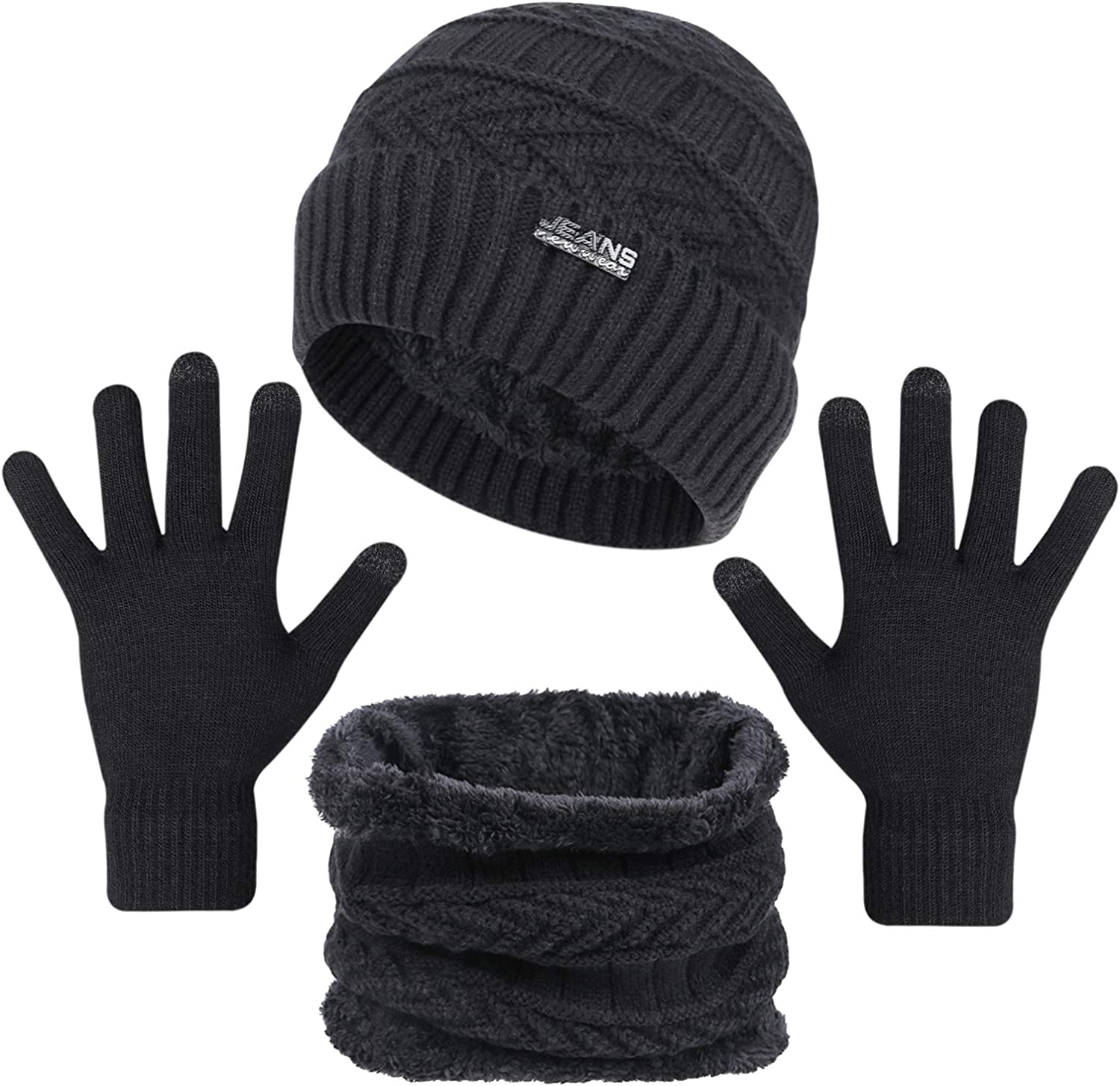 3-Pieces Winter Beanie Hats, Scarf and Touch Screen Gloves Set for Men and Women, Warm Knit Cap Set