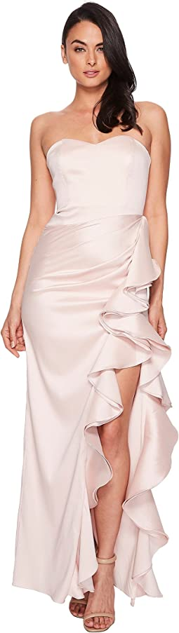 Badgley Mischka Strapless Twill Ruffle Gown