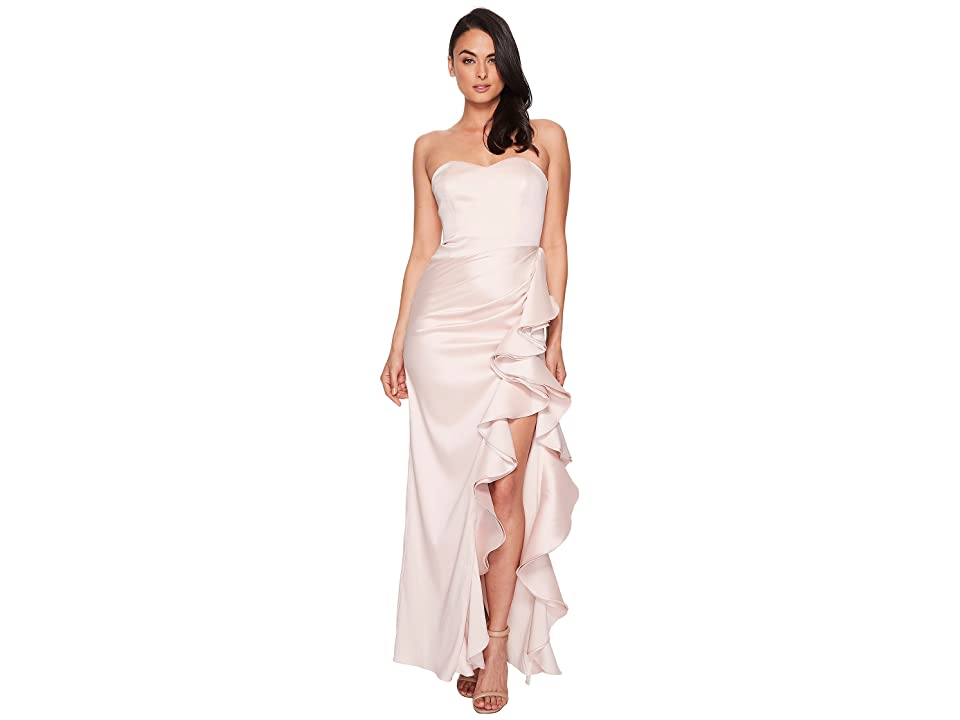 Badgley Mischka Strapless Twill Ruffle Gown (Blush) Women