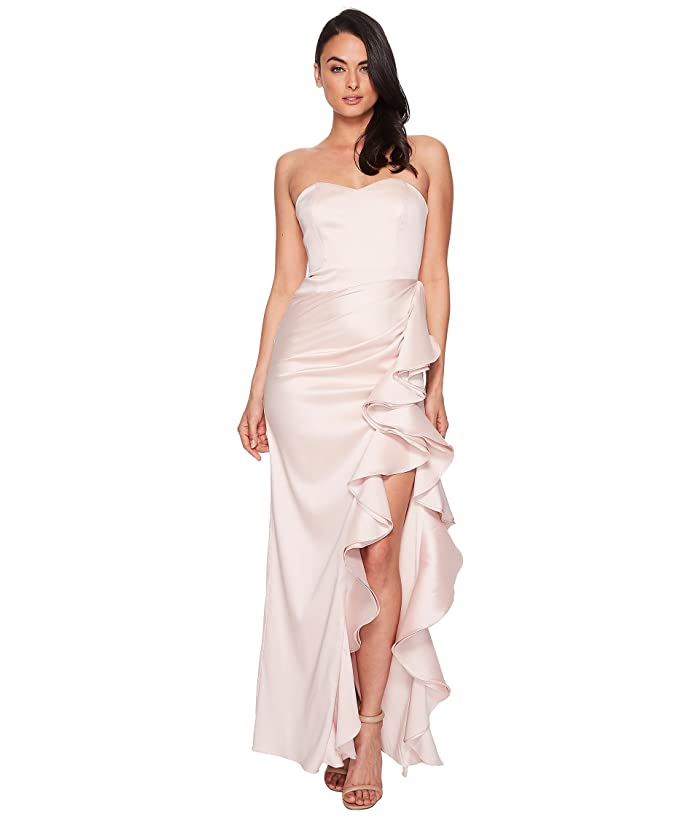 Strapless Twill Ruffle Gown by Badgley Mischka