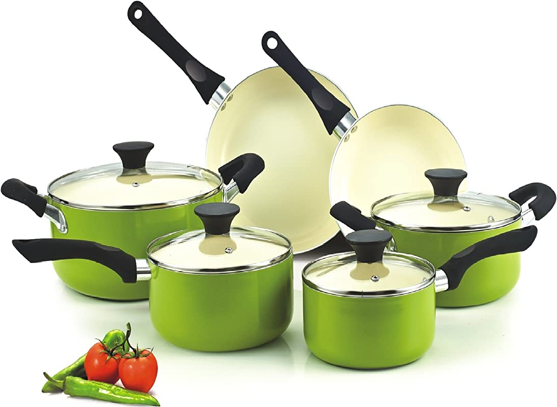 Cook N Home NC 00358 Nonstick Ceramic Coating 10 Piece Cookware Set Green