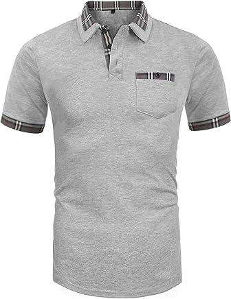 Daupanzees Men's Classic Casual Short Sleeve Plaid Collar Jersey Polo Shirt