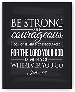 Christian Art, Be Strong and Courageous, Joshua 1:9 Scripture Quote Chalkboard Print (8x10