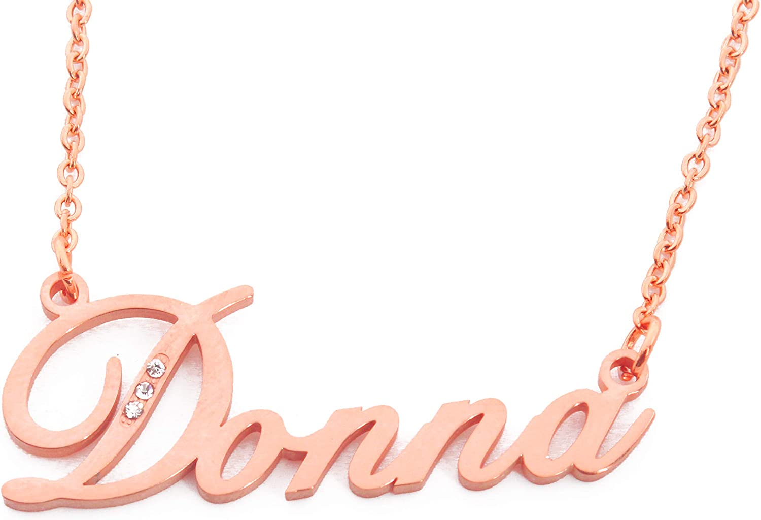 Italic Donna Name Necklace Rose Gold Plated Personalized Dainty Necklace - Jewelry Gift Women, Girlfriend, Mother, Sister, Friend, Gift Bag & Box