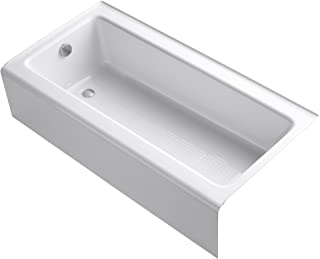 Kohler K-837-0 Bellwether 60-Inch by 30-Inch Cast Iron Bath with Integral Apron and Left-Hand Bath Drain, White