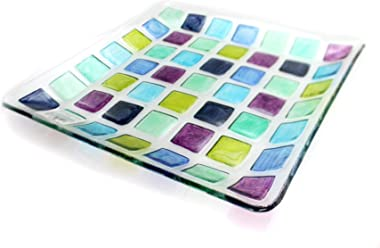 "Tabletop Mosaic Square Platter, 13.0"", Fusion Glass, Serving Tray, Decorative Platters, 68773"