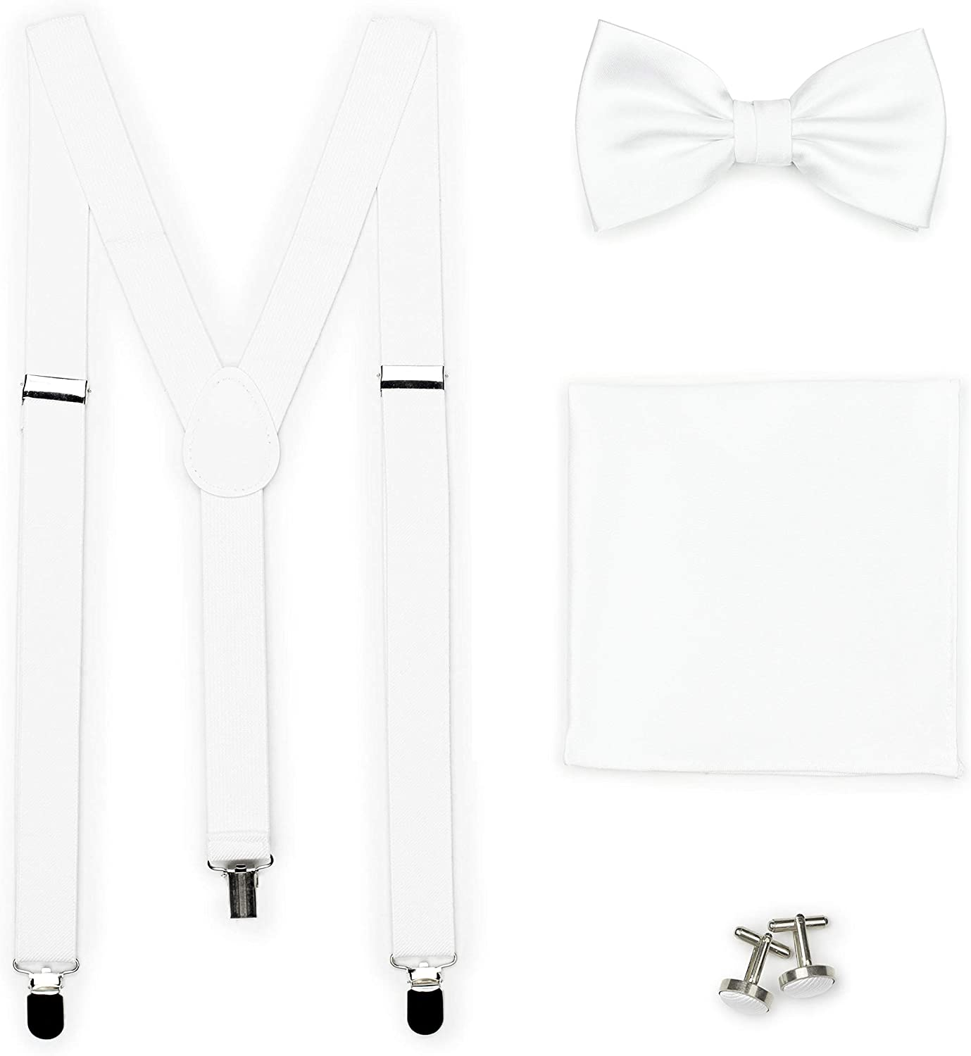 Bows-N-Ties Men's Set of Matching Solid Color Suspender, Bow Tie, Pocket Square, Cufflinks, Adjustable Length