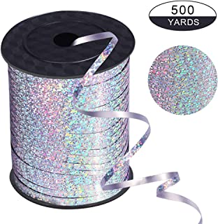 xixi party 500 Yards Silver Shiny Balloon Ribbons for Parties, Florist,Crafts and Gift Wrapping.