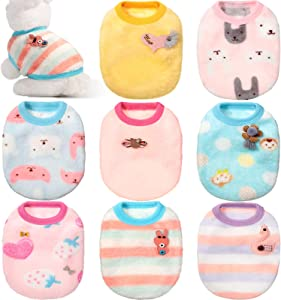 8 Pieces Soft Pet Costume Rabbit Bunny Grizzly Swan Monkey Pet Clothes Warm Fleece Pet Apparel Comfortable Small Pet Vest Clothing for Small Animals Ferret Chihuahua Puppy Kitten (Small)