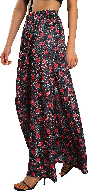 Women Summer Skirt, Full Floral High-Waist No Lining Ankle-Length Semi-Dress for Girls