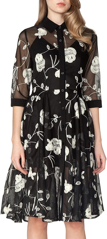 pink embroidery detail mesh shirt dress