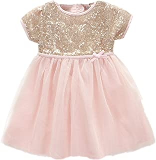 gold sequin and pink tulle dress