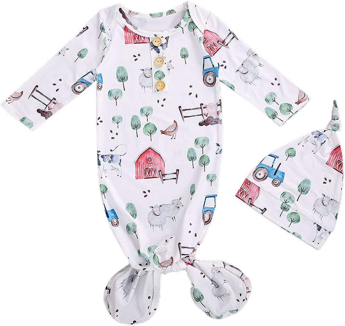 Baby Gown Newborn Girls Boys Floral Knotted Sleeper Soft Knit Cotton Infant Nightgown Set with Headband//Hat 2PCS