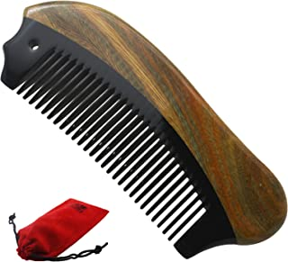 Meta-C Portable Beard Comb – Perfect Arsenal For Men's Beard care – NO SNAGS, NO TANGLE, NO STATIC - Handcraft Wood and Horn