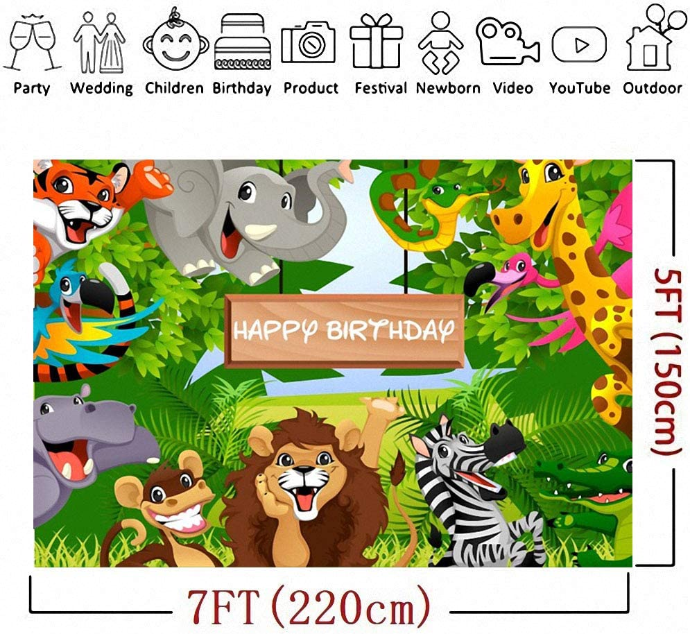 Cartoon Photo Backdrop Jungle Forest Animals Backdrop Baby Shower Birthday Party Newborn Party Backdrop Cloth Jungle Safari Party Animals Tree Shoots Studio Backdrops Youtube Video Shooting Background