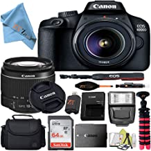 $339 » Canon EOS T100/4000D DSLR Camera w/Canon EF-S 18-55mm F/3.5-5.6 III Zoom Lens + Case + 64GB SD Card + More + ZeeTech Cloth (Starter 64GB)