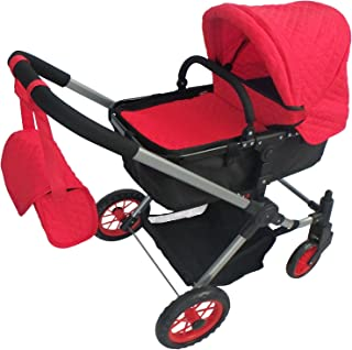 Modern Bassinet Doll Stroller -SUPERIOR QUALITY Red Quilted Fabric- NEW LUXURY COLLECTION -FREE Diaper Bag - EXTRA TALL