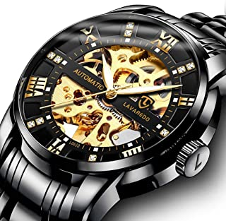 Men's Watch Luxury Mechanical Stainless Steel Skeleton Waterproof Automatic Self-Winding Rome Number Diamond Dial Wrist Watch