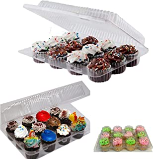 Mini 12 Compartment Cupcake Container -Cupcake Boxes, Hinged Lid- with Superior Strong,12 Compartment Cupcake Boxes, BPA F...