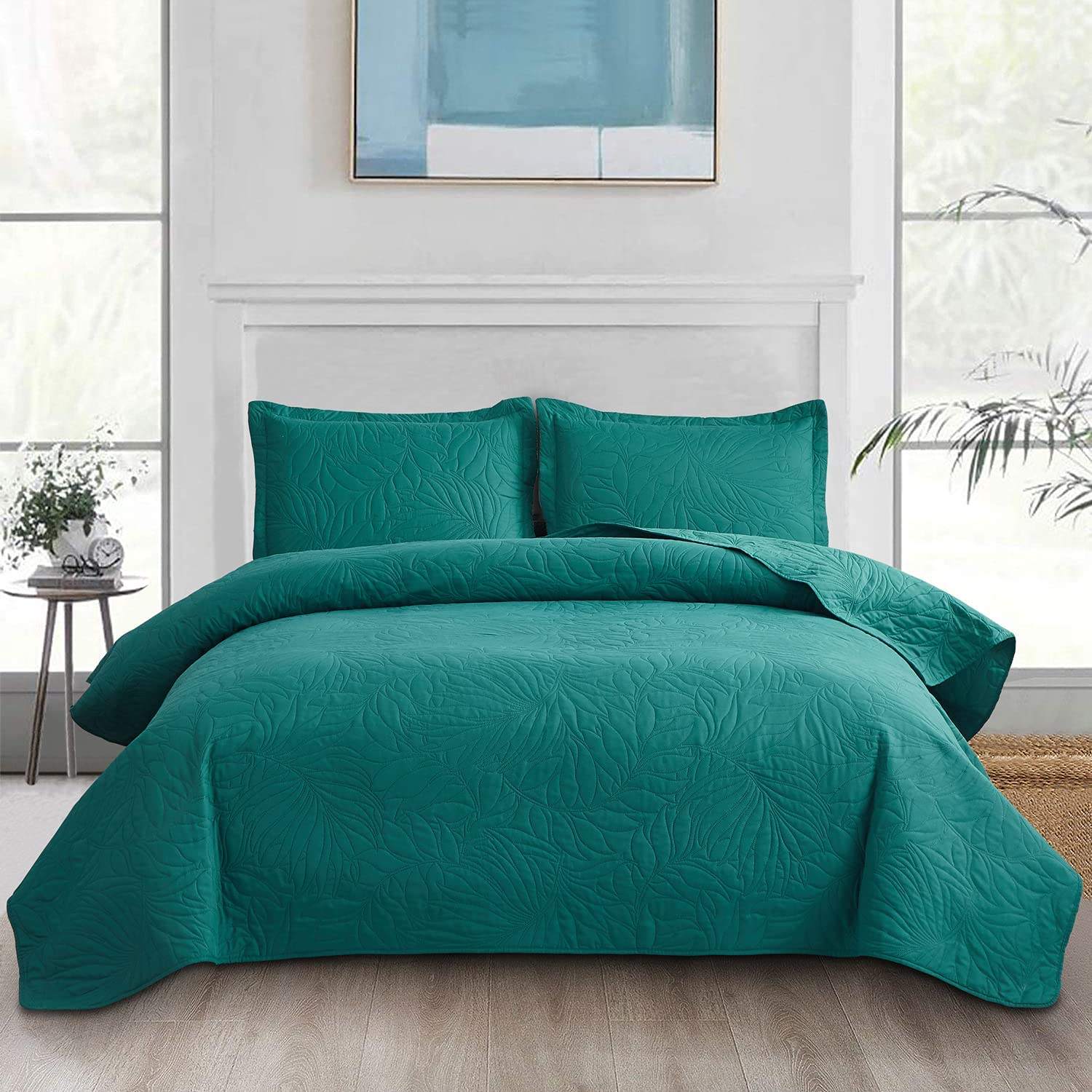 Max 82% OFF 3-Piece Quilt Set Twin Year-end gift Size Embossing Reversib Teal Lightweight