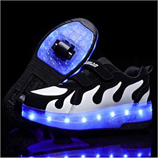Double Roller Shoes, Kids Boys Girls LED Roller Skate Shoes USB Rechargeable Sports Flashing Gymnastic Sneaker Boys Girls ...
