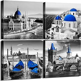 sunfrower Black and White City Wall Art Decor Navy Blue European Mediterranean Landscape..