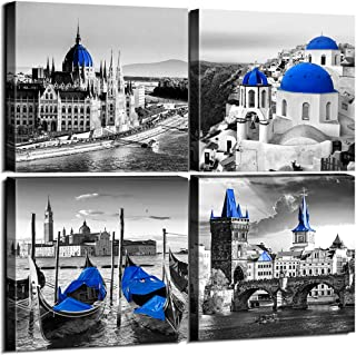 sunfrower Black and White City Building Wall Decor Venice Sea Town of Santorini Canvas Print Art Decoration 12 x 12inches 4 Piece