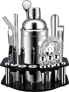 Scra AC Cocktail shaker set, met achthoek roterende displaystandaard, SS304 roestvrijstalen premium barman voor thuis, ba...