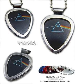 PICKBAY Guitar Pick Holder Pendant (Stainless Steel) w PINK FLOYD Dark Side of the