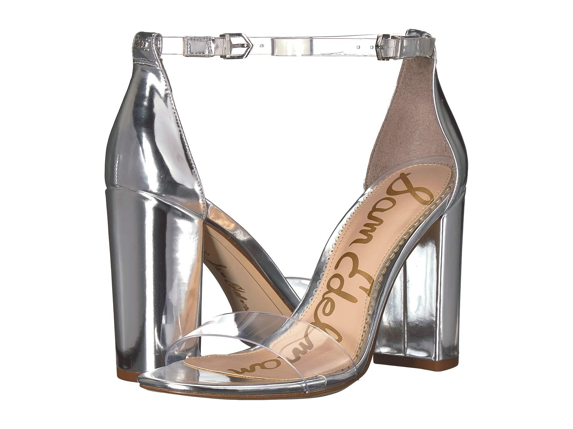Ankle Edelman Strap soft Heel Clear Vinyl Yaro Metallic Sam Silver liquid Sandal qEdBE