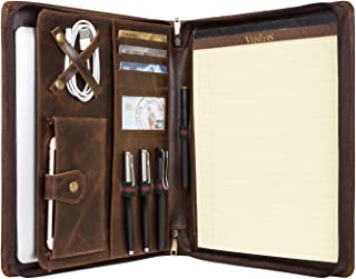 Handmade Vintage Leather Padfolio Portfolio Case Zippered Business Organizer Tablet Folio Folder, for Right- or Left-Handed Business Men/Women (Oil Waxed Leather, Non-Custom)