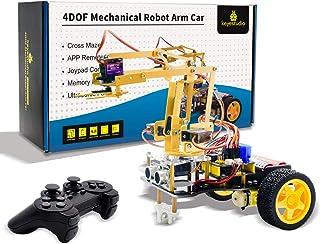 KEYESTUDIO Robot Arm Car Kit for Arduino IDE with Ultrasonic Sensor, Line Tracking Sensor, Bluetooth Module, Intelligent a...